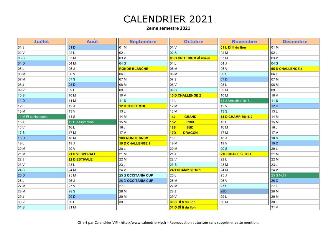Calendrier Course Camarguaise 2021 Calendrier | Société Nautique